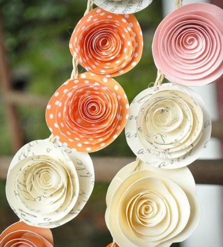 Свадьба - Orange, Pink & Recycled Book Page Paper Flower Garland - Set Of 4