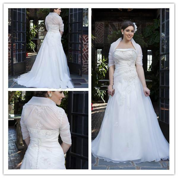 Elegant plus size wedding dresses with removeable jacket for Wedding dress jackets plus size