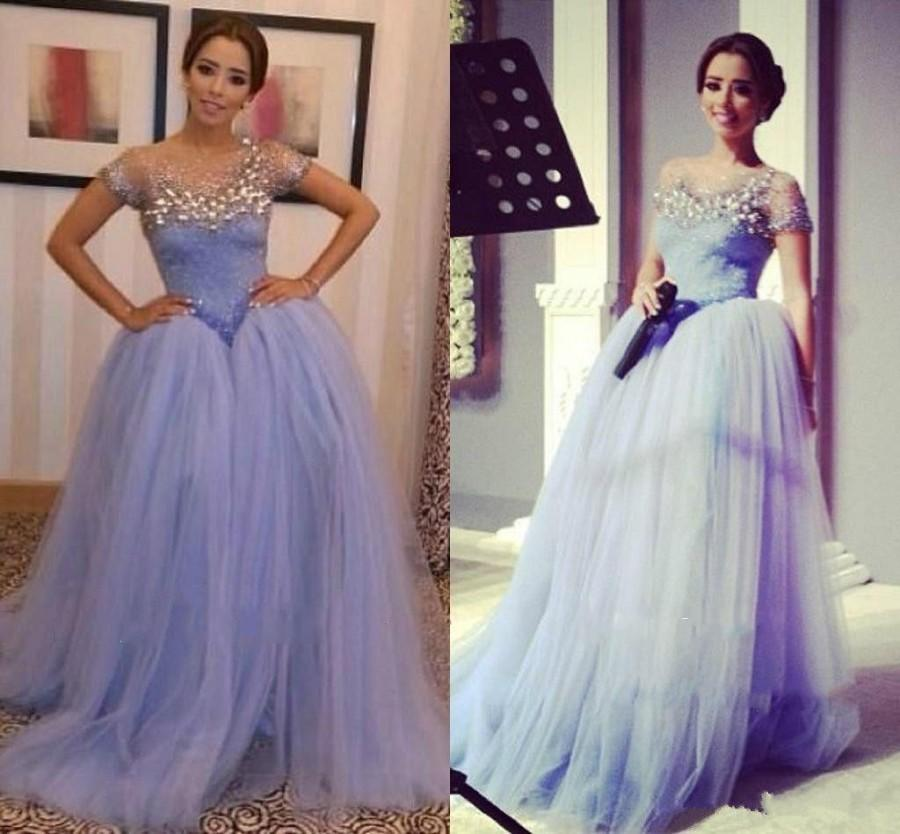 Wedding - New Arrival 2015 Prom Dress A-line Real Image Short Sleeve Crystal Color Tule Sweep Beaded Fashion Party Formal Ball Gown Evening Dresses Online with $109.66/Piece on Hjklp88's Store