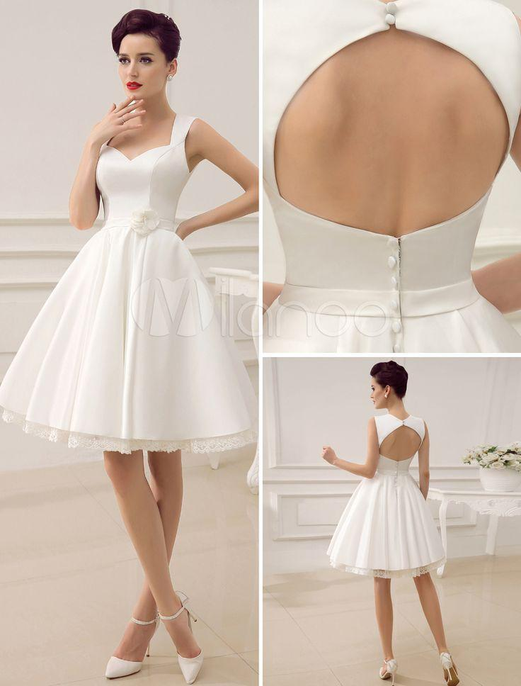 Beach short wedding dresses white sweetheart satin 2015 for Cute short white wedding dresses