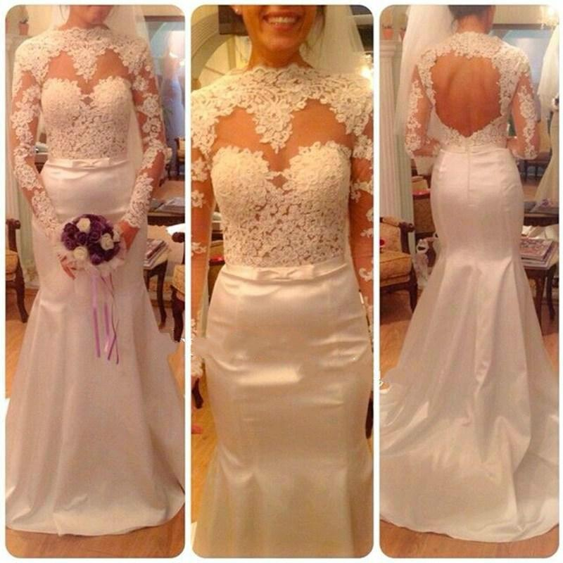 Свадьба - 2015 Noble Wedding Dresses Mermaid Real Image Long Sleeve Lace High Neck Backless Embroidery Chapel Train Satin Bridal Dress Gowns Party Online with $126.39/Piece on Hjklp88's Store