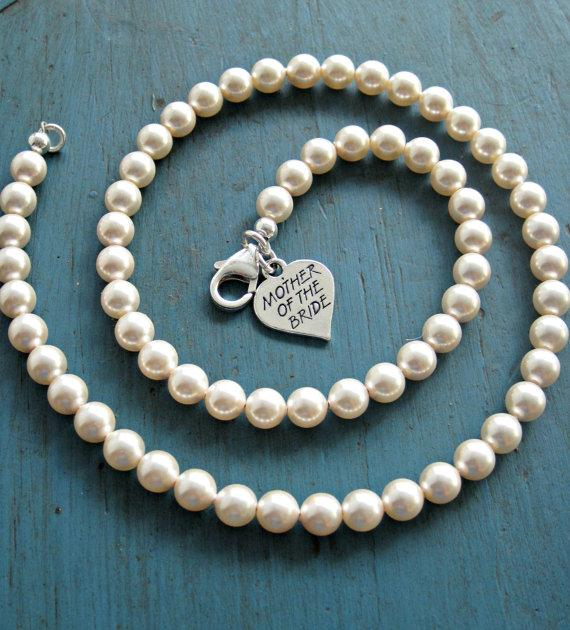 Pearl Necklace Mother Of The Bride Gift Bridesmaid Jewelry Sterling
