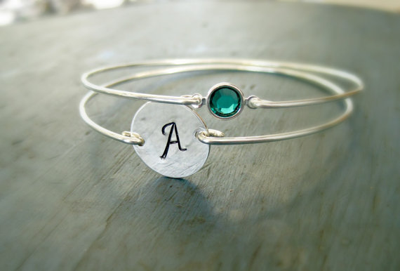 Bridesmaid Jewelry Sterling Silver Initial Birthstone Bangle Set Of 2 Bracelet Monogram