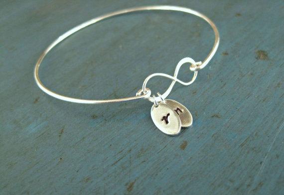 Wedding - Infinity Initial Bangle Personalized jewelry Gift Mommy Jewelry Personalized bracelet Lovers Bracelet Mothers Jewelry Mother of the Bride