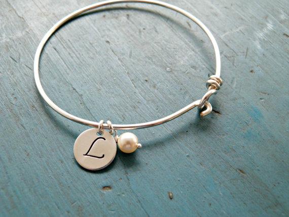 Personalized Initial Bangle Bracelet Graduation Gift Bridesmaid Jewelry New Mom Friendship