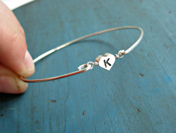 Personalized Initial Bracelet Sterling Silver Bangle Bridesmaid Jewelry Flower Gift Gifts
