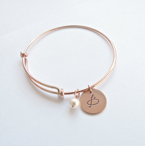 Wedding - Rose Gold Initial Bangle Personalized Bracelet Personalized Bridesmaid Gift Bridesmaid Jewelry Graduation gift New Mom gift Grandmother Gift
