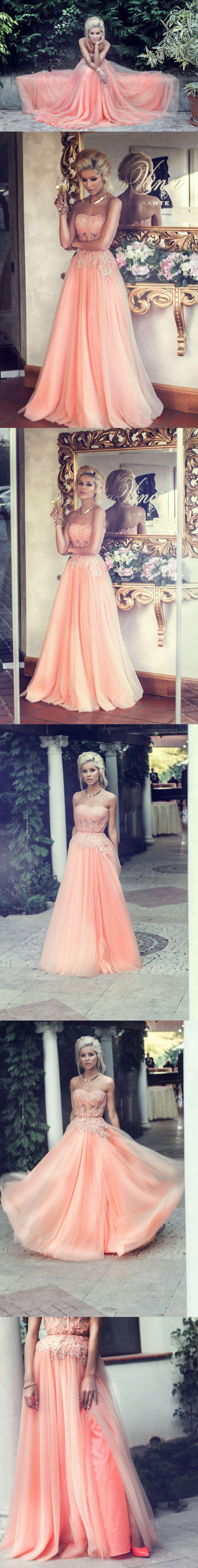 Свадьба - New Arrival A-line Strapless Lace Appliqued Bodice Blush Tulle Skirt Long Prom Dresses For 2015 Party APD1279 From DiyDressonline