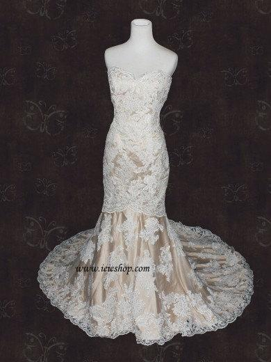 Wedding - Strapless Sweetheart Ivory Lace Champagne Lining Mermaid Wedding Dress