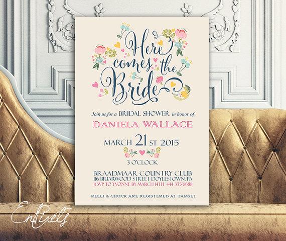 Wedding - Printable Bridal Shower Invitation - Vintage Floral Invitation - Wedding Invitation  - Bridal Shower
