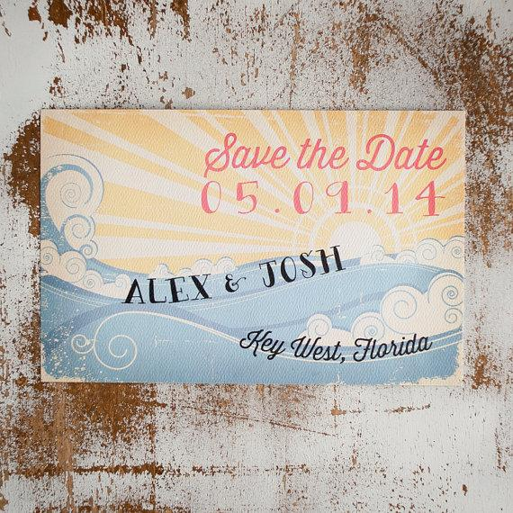 Wedding - Beach Save the Date, Save the Date card - The Wave - Rustic Save the Date, vintage style, rustic wedding, beach wedding, eco friendly, sea