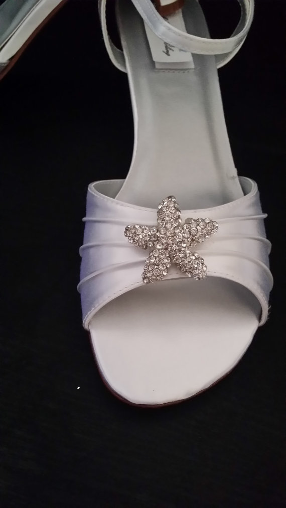 Свадьба - Wedding Shoes Kitten Heel Bridal Shoes Crystal Starfish Brooch Over 100 Custom Color Choices