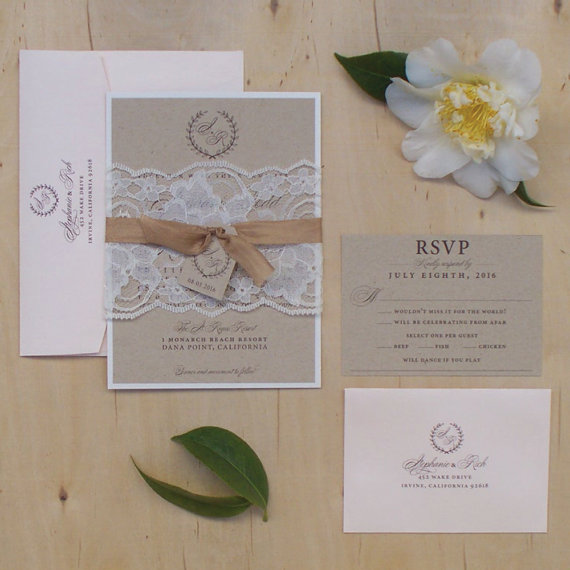 blush wedding invitation vintage lace wedding invitation rustic wedding invitation sample - Vintage Lace Wedding Invitations