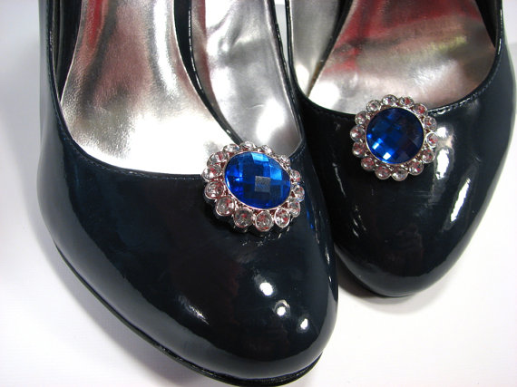 Nozze - Shoe Clips Royal Blue Faceted Jewel and Rhinestones Round Jewelry for your Shoes
