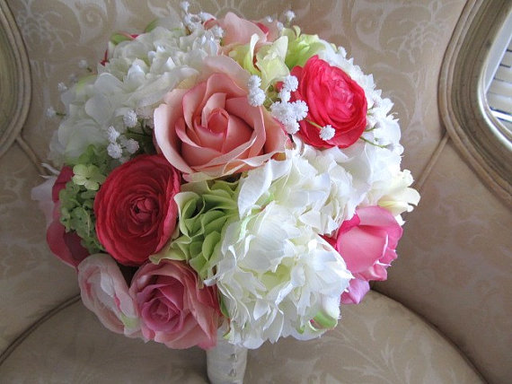 Silk Wedding Bouquet In Pink Hot White And Green Rosespeonies Ranuculusbridal
