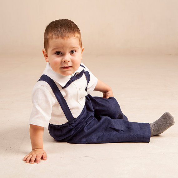Baby Boy Linen Suit Ring Bearer Outfit First Birthday Baptism