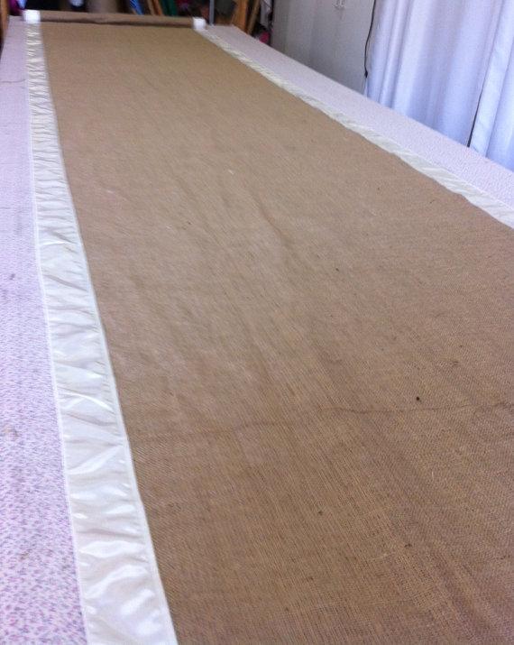 Wedding - Burlap Custom Made Aisle Runner 50ft with White satin border on both sides