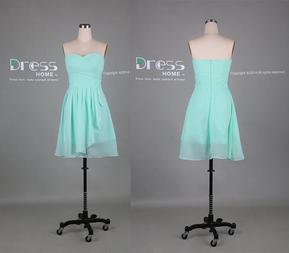 Mint Green Sweetheart Chiffon Knee Length Bridesmaid Dress/Cheap ...