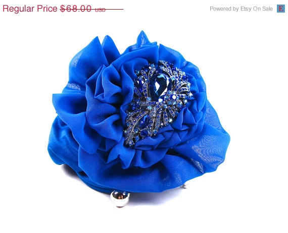 Mariage - ON SALE Royal Blue Satin Crystal Clutch, Floral Crystal Floral Bridal Clutch, Wedding Purse, Royal Evening Clutch