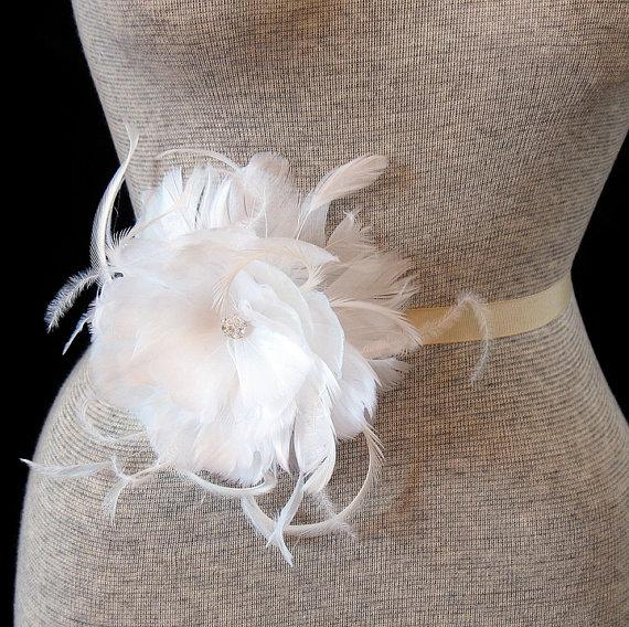 White feather bridal belt feather flower wedding sash brooch white feather bridal belt feather flower wedding sash brooch mightylinksfo