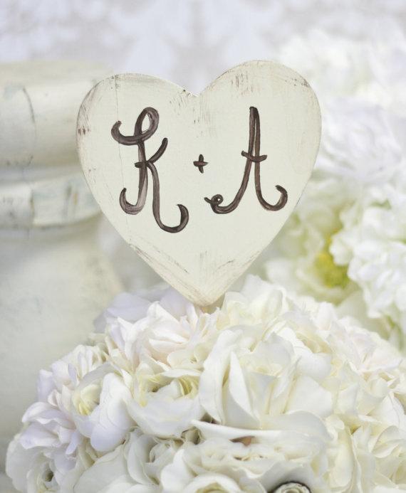 زفاف - Personalized Wedding Cake Topper Shabby Chic Heart (item P10282)