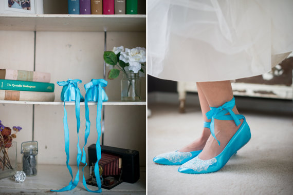 Mariage - Wedding ballet flats vintage lace bridal shoes embellished with lace from a vintage handkerchief and ankle tie strap removable ribbons