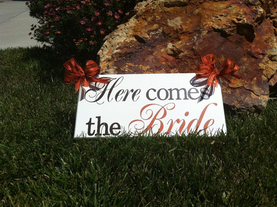 Wedding - Here Comes the Bride (two sided sign)...flower girl...ringbearer. or photo prop...see listing for backside options