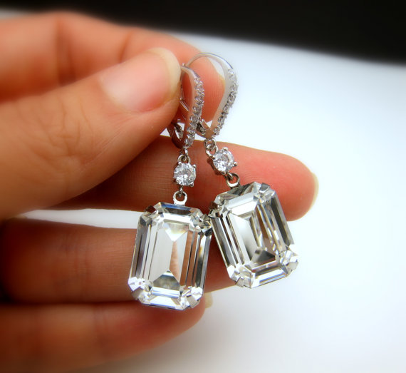 Wedding Jewelry Earrings Bridal Swarovski Clear White Vintage Style Rectangle Square Foiled Crystal Silver Lever Back Hoop