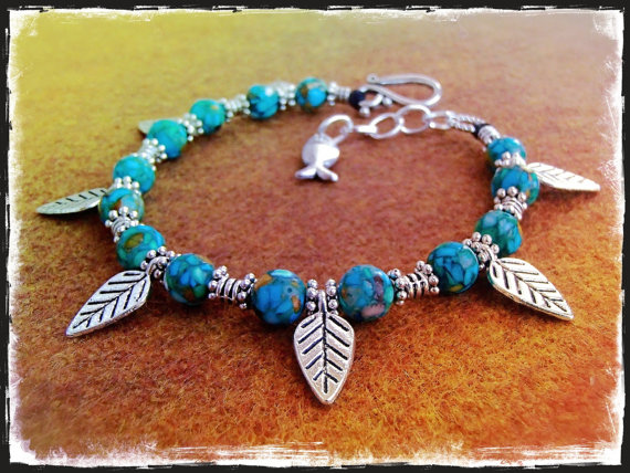 Mariage - Leaves Anklet Turquoise Mosaic ANKLE Bracelet LEAF anklet beaded ANKLET Cowgirl Boho jewelry bare feet Wedding foot jewelry Fish Charm