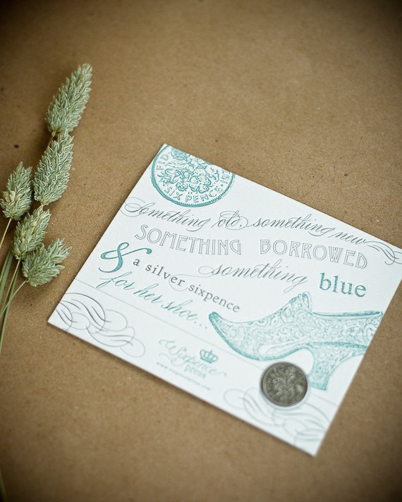 Mariage - Lucky Sixpence Coin and Letterpress Card - Wedding Sixpence