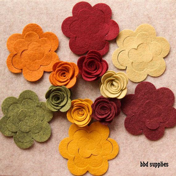 Mariage - Autumn Harvest - 3D Rolled Roses Medium - 12 Die Cut Wool Blend Felt Flowers - Unassembled Rosettes