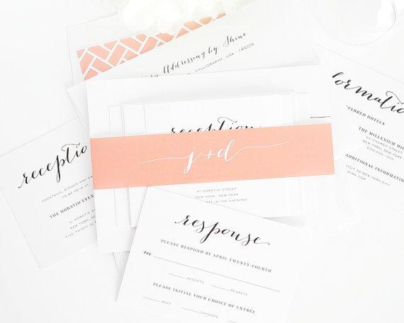 Wedding - Peach Wedding Invitation, Chic, Elegant Wedding Invitation, Peach, White, Script - Flowing Script Wedding Invitation - Sample Set