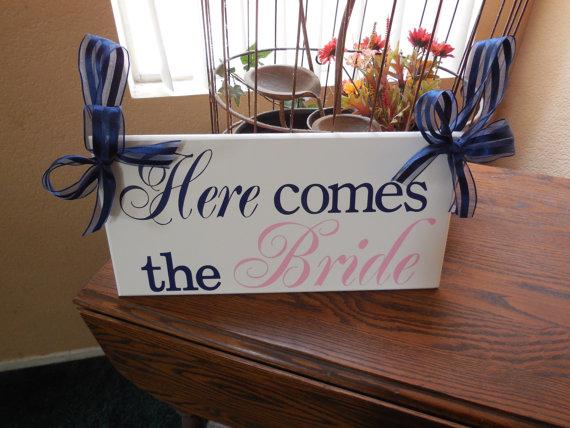 زفاف - Here Comes the Bride...(Navy Blue, Light Pink) Ring Bearer, Flower Girl...custom colors...May be made 2 sided for 7.00 additional.
