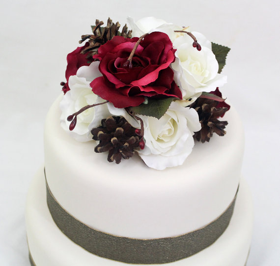 Winter wedding cake topper cranberry burgundy red white rose winter wedding cake topper cranberry burgundy red white rose silk flower cake topper wedding cake flowers winter wedding cake topper junglespirit Gallery