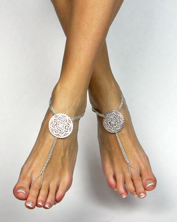 Stunning Bridal Barefoot Sandals Beach Wedding Foot Jewelry Bridal
