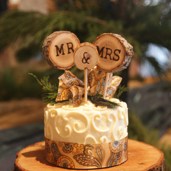 Rustic Wedding Cake Topper Tree Slice Mr Mrs