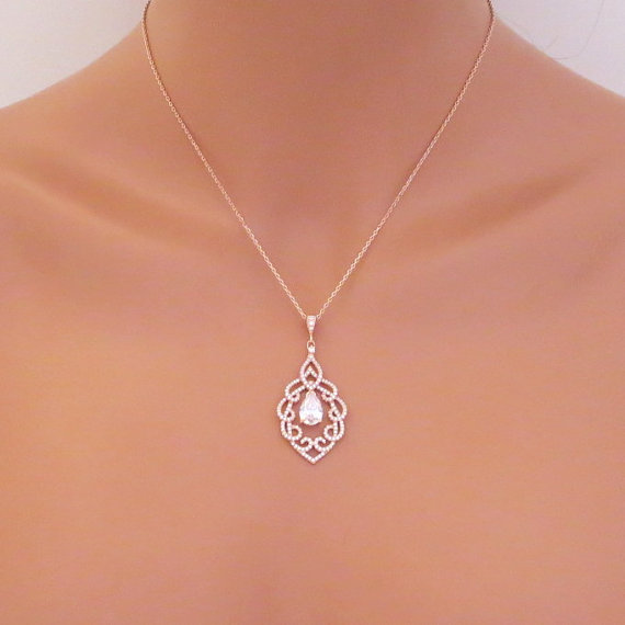 Rose Gold Pendant Necklace Wedding Necklace Rose Gold Bridal