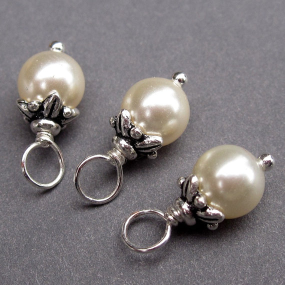Mariage - Cream Swarovski Crystal Pearls Wire Wrapped Dangles Charms with Flower Bead Caps 6mm