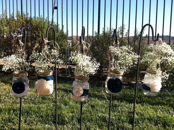 TEN HANGING MASON Jars: Burlap Lace Bulk Candle Holders For ...