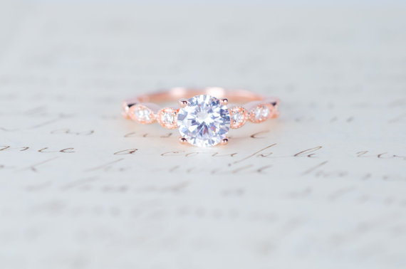 Mariage - Rose Gold Engagement Ring - Art Deco Ring - Promise Ring - Vintage Ring - Wedding Ring - Sterling Silver