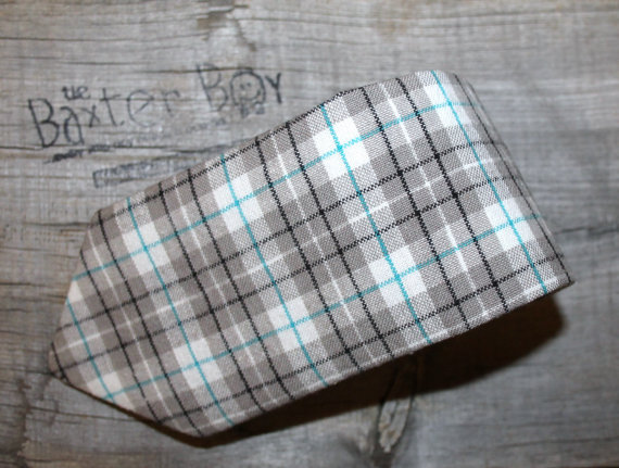 Wedding - Grey & Teal plaid necktie - youth size, photo prop, wedding, ring bearer, accessory