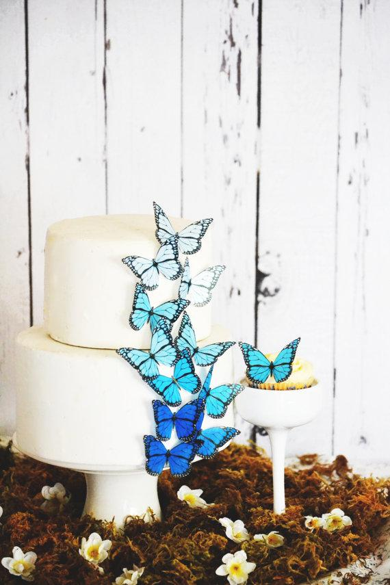 Wedding Cake Topper Edible Ombre Monarch Butterflies