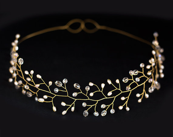 زفاف - Bridal tiara, Wedding tiara, Wedding crown, Gold tiara, Headpiece tiara, Headband, Bridal hair accessories tiara, Pearl tiara, Gold headband