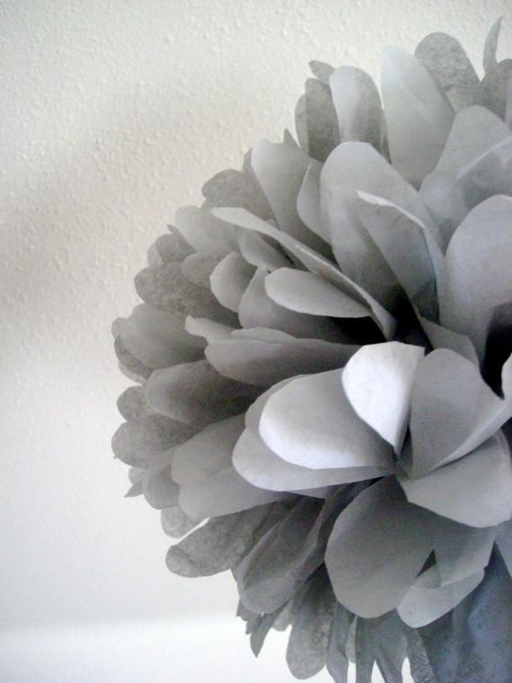 Wedding - SLATE GRAY / 1 tissue paper pompom / wedding decorations / diy / gray decorations / gray poms / birthday party decor / baby shower poms