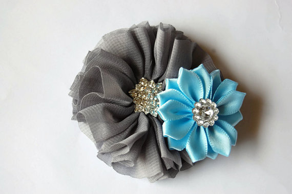 Mariage - Dog collar flowers. Dog collar, dog collar bling, collar Flowers, Wedding Dog Flowers, Bows for Dogs, Dog Bows, Pet flower, Gray and blue