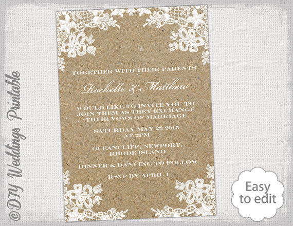 Rustic Wedding Invitation Template DIY Lace