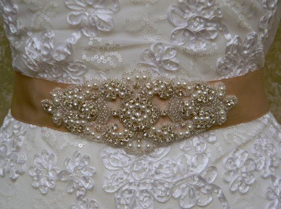 Mariage - SALE - Champagne Bridal Sash - Bridal Belt - Sash Belt - Wedding Dress Belt - Crystal Rhinestone Pearl Beaded Wedding Belt - SOFIA
