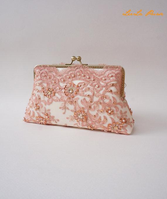 Mariage - Elegant wedding Lace Silk Clutch in Orange, Fall wedding, wedding bag, bridesmaid clutch, Bridal clutch