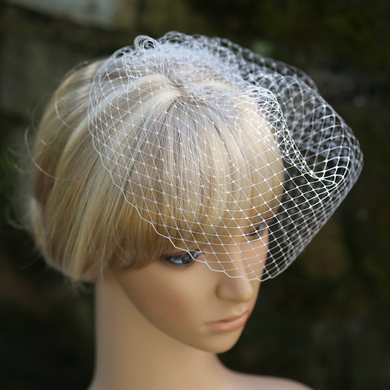 Mariage - Pouf Birdcage Veil Bridal Blusher 10 Inches French Net Lace Veiling Wedding Veil