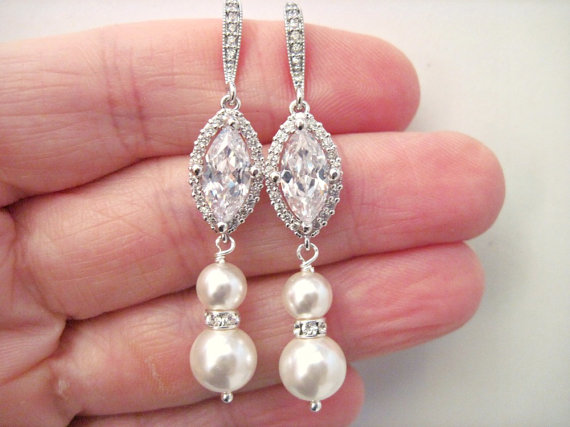 Mariage - Wedding Jewelry Crystal and Pearl Bridal Earrings Victoria